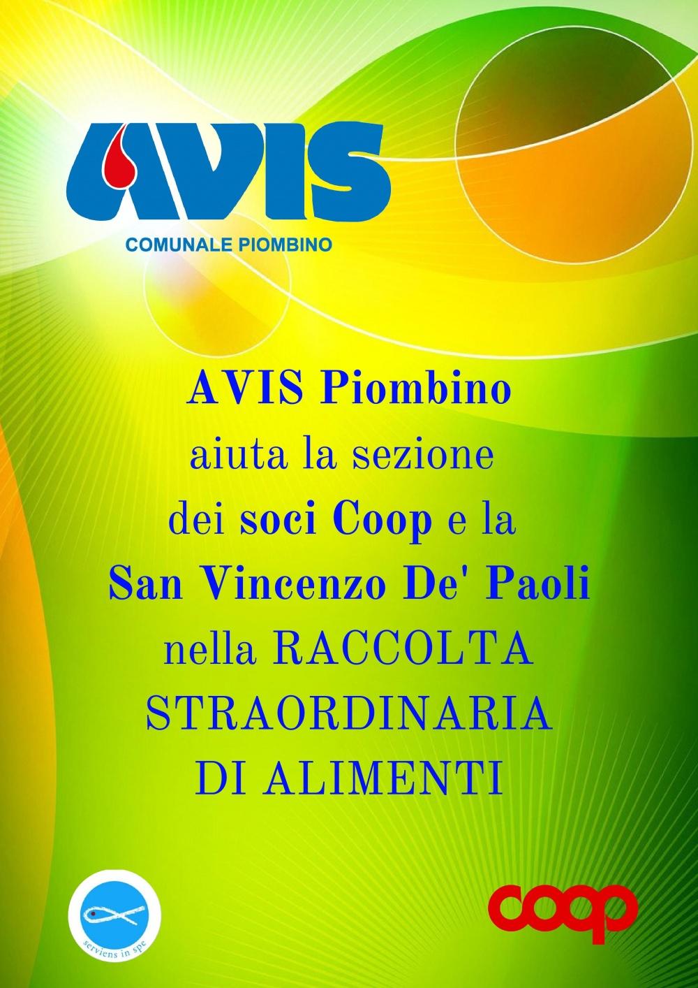Sabato 13 ottobre AVIS Piombino aiuta la sezione dei soci Coop e la San Vincenzo De´ Paoli nella raccolta straordinaria di alimenti!